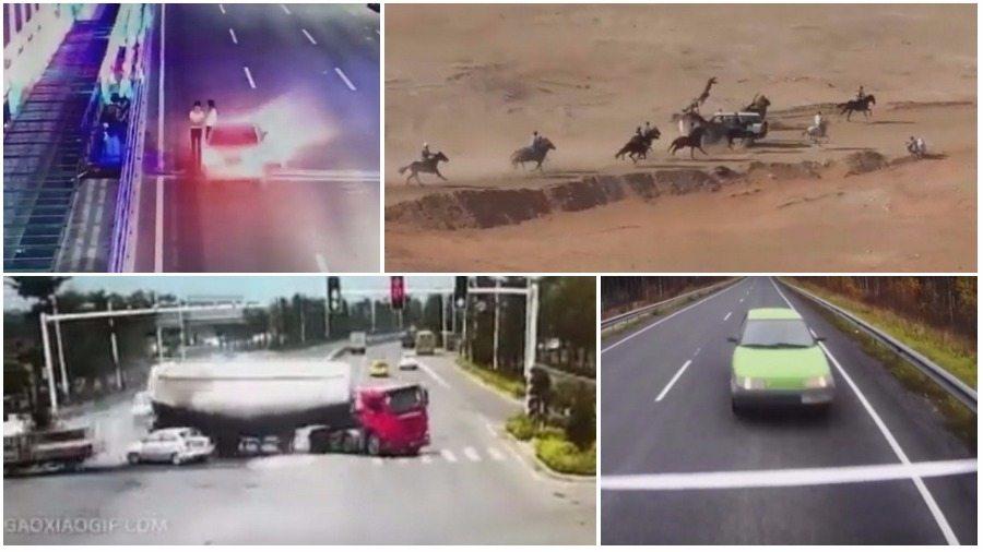 ТОП-7 ужасных аварий за неделю: авария на скачках, лихач не проскочил перекресток, лобовое с фурой