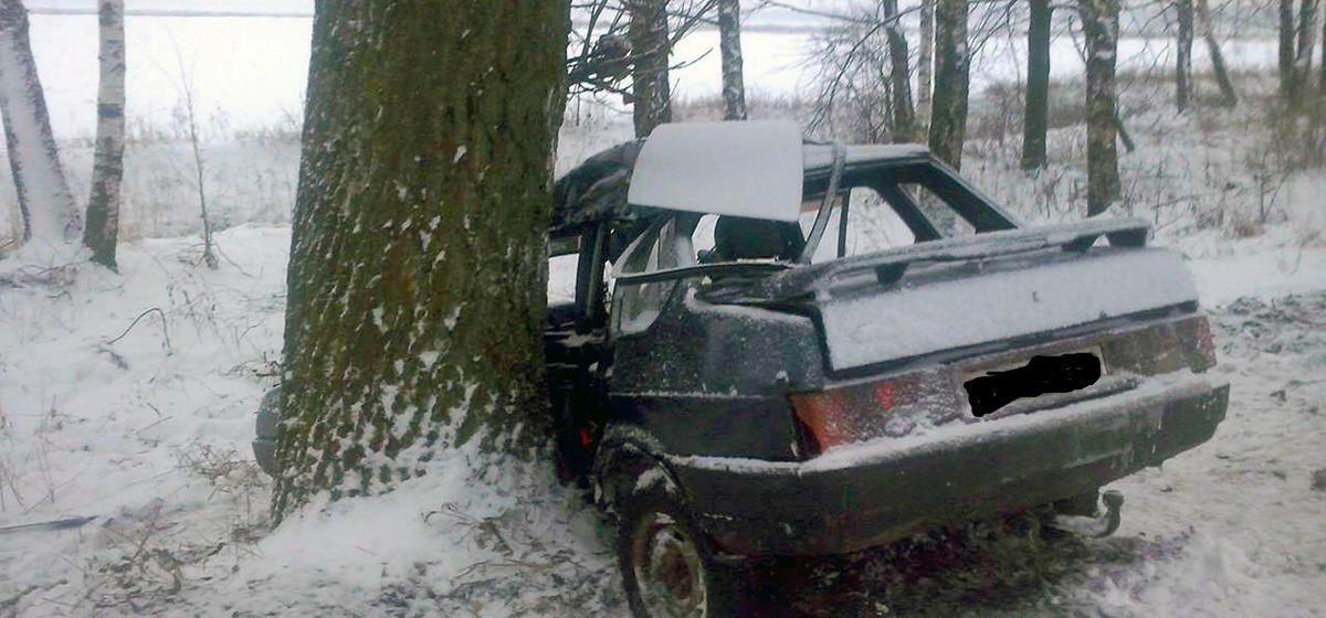 Фотофакт. Под Речицей 20-летний водитель вылетел в кювет, врезался в дерево и погиб