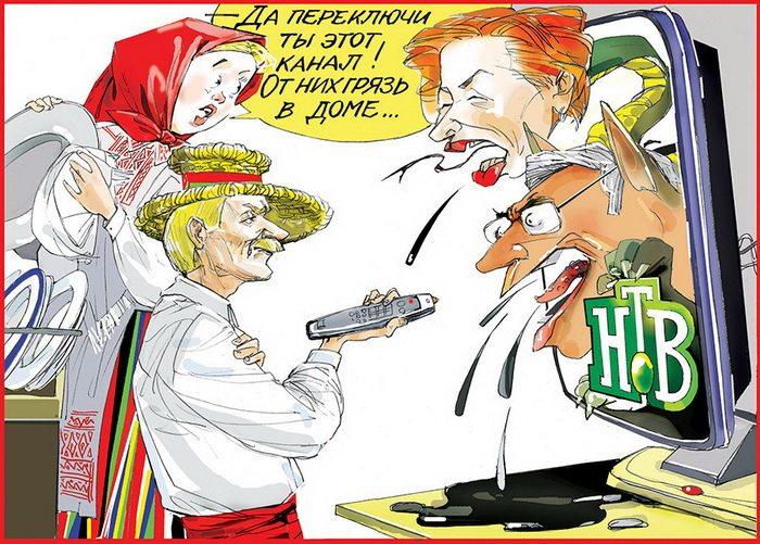 Фотофакт. Газета Администрации президента «Советская Белоруссия» опубликовала карикатуру на российский телеканал НТВ