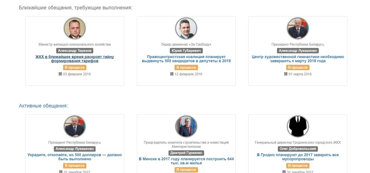 Активист создал сайт, который поможет следить за выполнением обещаний чиновников