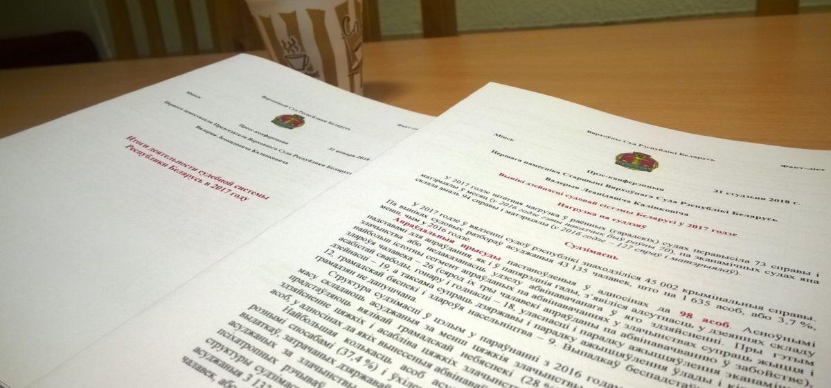 В 2017 году белорусские суды оправдали 98 человек. Это 0,2% от общего числа обвиняемых