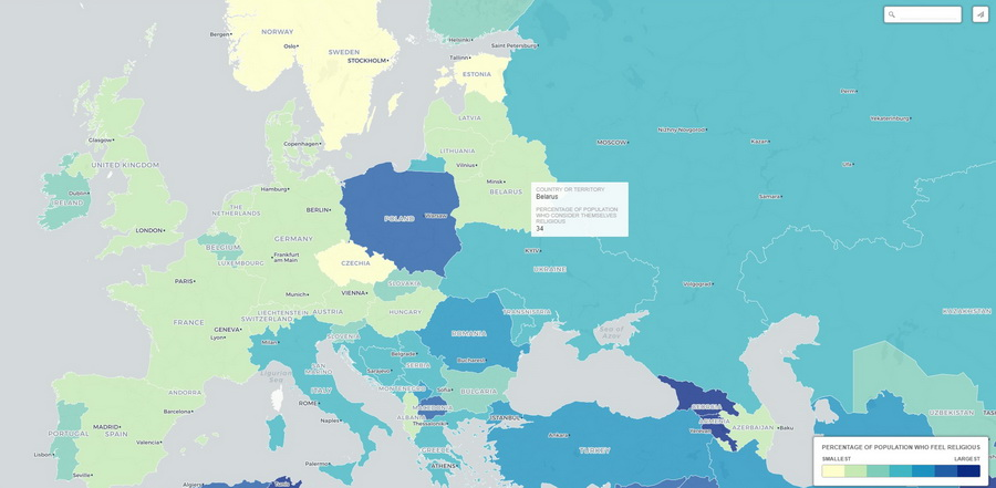Беларусь вошла в 20 наименее религиозных стран в мире