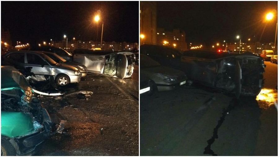 В Боровлянах пьяный водитель разбил семь припаркованных автомобилей (фото)