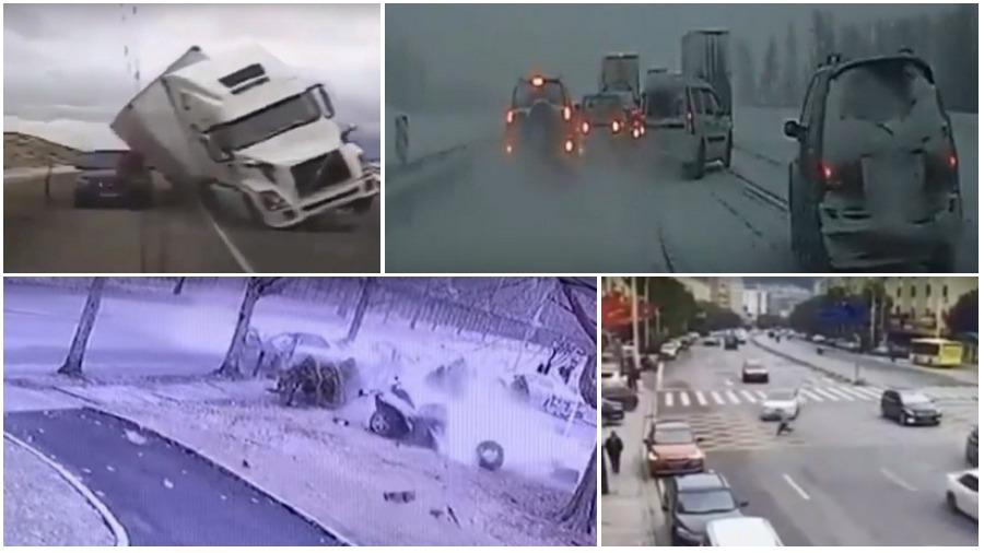 ТОП-5 ужасных аварий за неделю: фура раздавила полицейскую машину, бегущий пешеход, массовое ДТП (видео 18+)