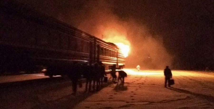 В Кобринском районе загорелась кабина дизель-поезда (фото)