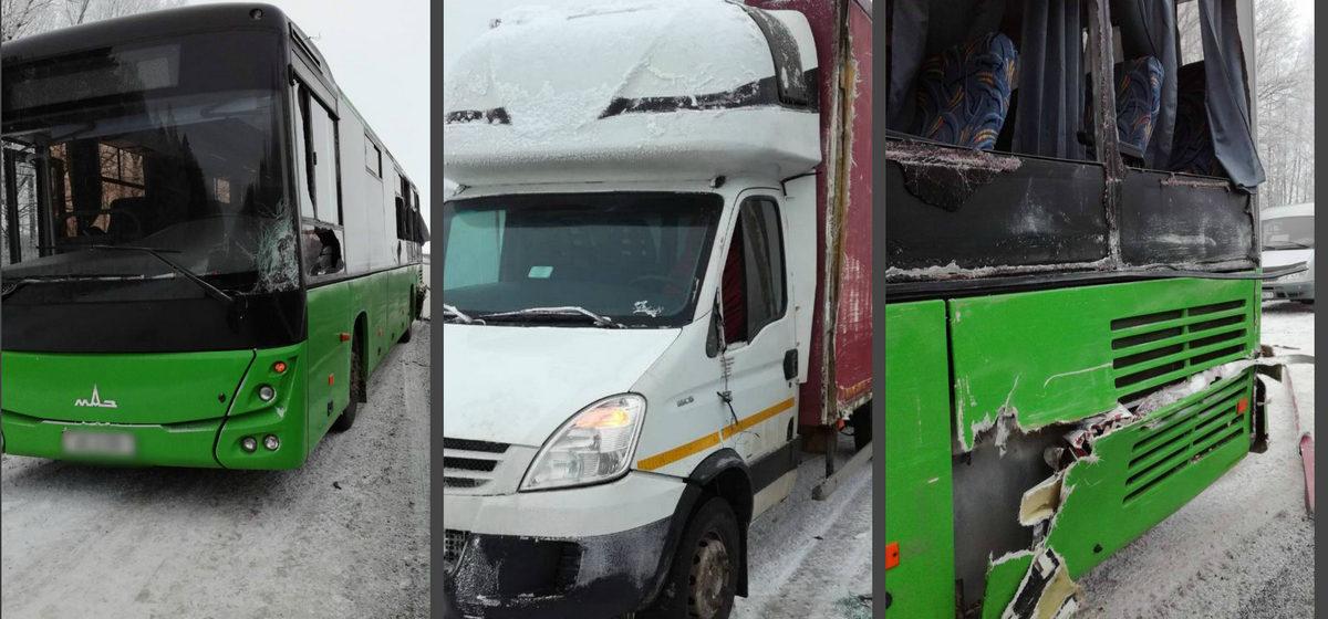Под Пинском житель Барановичей уснул за рулем грузовика и врезался в автобус