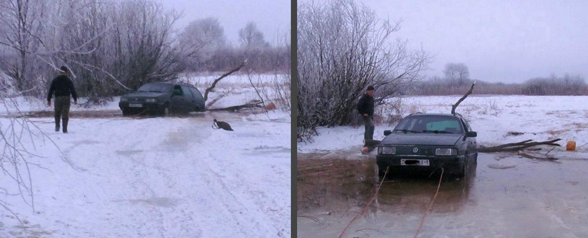 Житель Столинского района отправился порыбачить на автомобиле по тонкому льду и едва не утонул