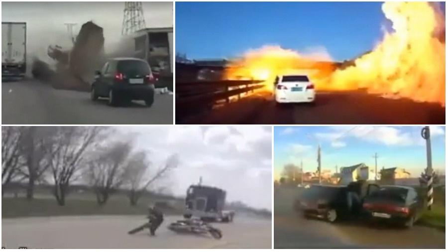 ТОП-5 ужасных аварий за неделю: огненный ад, автобус против мотороллера, чудесное спасение байкера (видео 18+)