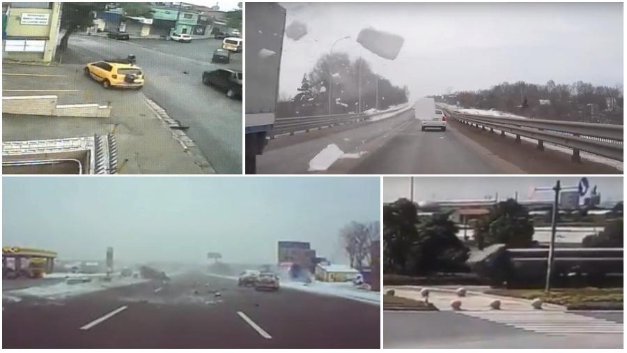 ТОП-5 ужасных аварий за неделю: пересел с мотоцикла на крышу авто, ледяной ад, смертельное торможение (видео 18+)