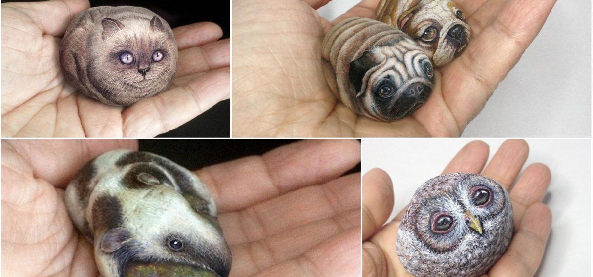 Художник рисует 3D-миниатюры животных на камнях