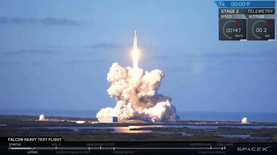SpaceX успешно запустила в космос сверхтяжелую ракету Falcon Heavy с автомобилем Илона Маска
