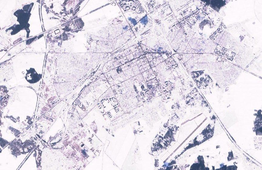 Фотофакт. Морозные Барановичи с высоты 780 километров