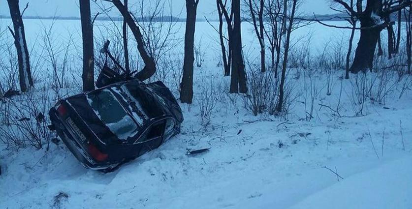 В Калинковичском районе «Ауди» отбросило с дороги прямо на дерево, погибла водитель