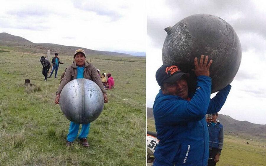 В Перу с неба упали три металлические сферы с надписями на русском языке