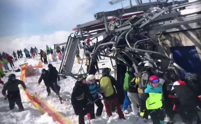 В Грузии на горнолыжном курорте сломалась канатная дорога. Людей на огромной скорости выбрасывало из сидений (видео)
