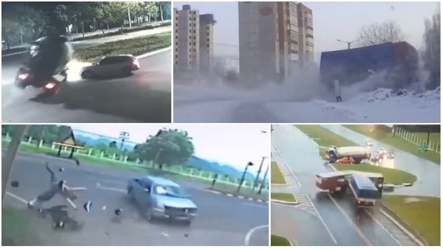 ТОП-5 ужасных аварий за неделю: бетономешалка-убийца, неуправляемый грузовик, байкер, пикап и столб (видео 18+)