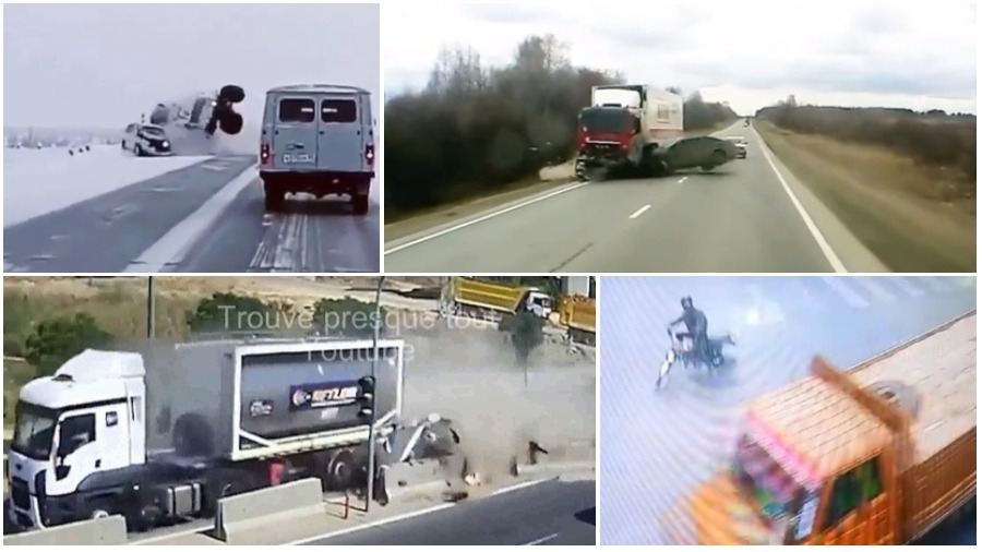 ТОП-5 ужасных аварий за неделю: грузовик и легковушка, не проскочил на перекрестке, смертельный обгон (видео 18+)