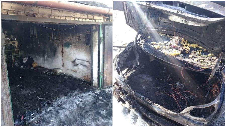 В Барановичах в результате пожара в гараже поврежден BMW 530