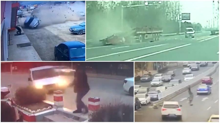 ТОП-5 ужасных аварий за неделю: курение убивает, байкер против пикапа, фура и незакрепленный груз (видео 18+)