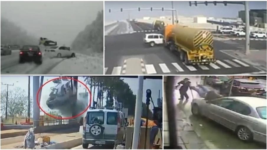 ТОП-5 ужасных аварий за неделю: не справился с управлением и сбил полицейского, легковушка вылетела на тротуар, пытался проскочить на красный (видео 18+)