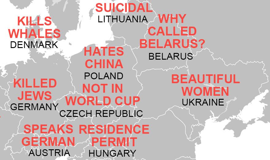 Что думают китайцы о Беларуси и других европейских странах — карта стереотипов