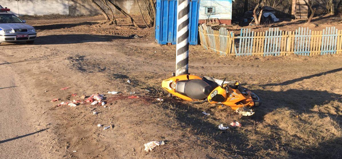 В Могилеве 14-летняя девочка на скутере врезалась в столб, она в реанимации