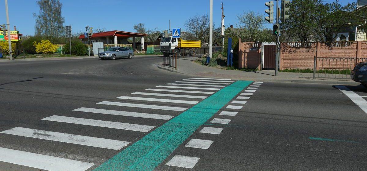 В Барановичах на перекрестке улиц Тельмана и Першукевича появились велодорожки