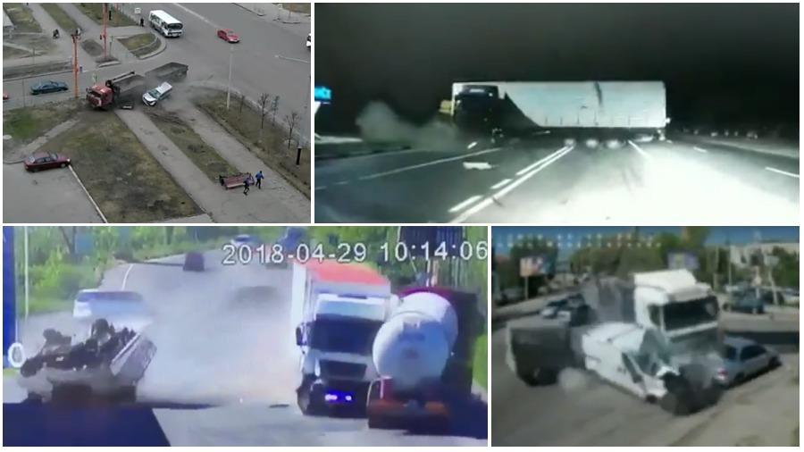 ТОП-5 ужасных аварий за неделю: неуправляемая фура, удар по ГАИ, «КамАЗ» против легковушки (видео 18+)