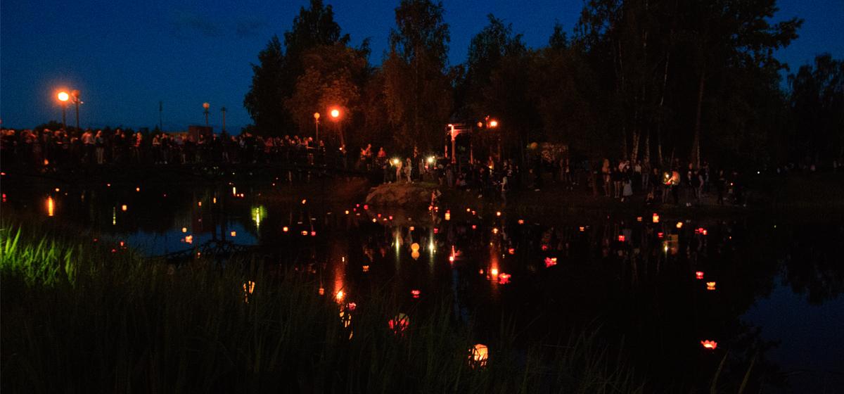 В Барановичах прошел фестиваль водных фонариков