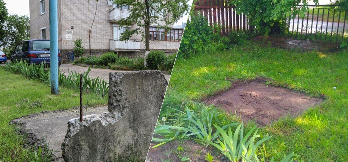 Жители многоэтажки пожаловались в Intex-press на плиты с торчащей арматурой во дворе. Через два дня ЖЭС убрал опасную конструкцию