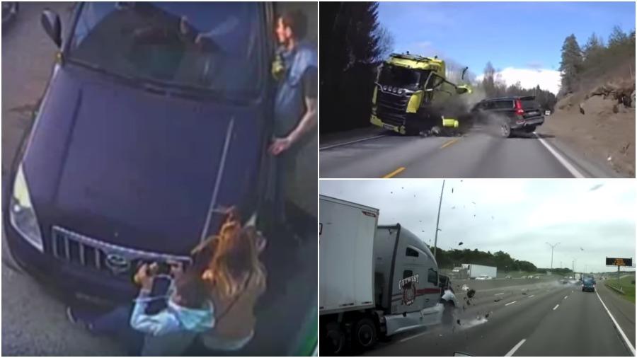 ТОП-5 ужасных аварий за неделю: легковушка против фуры, полицейский на джипе влетел в толпу, велосипедист-камикадзе (видео 18+)