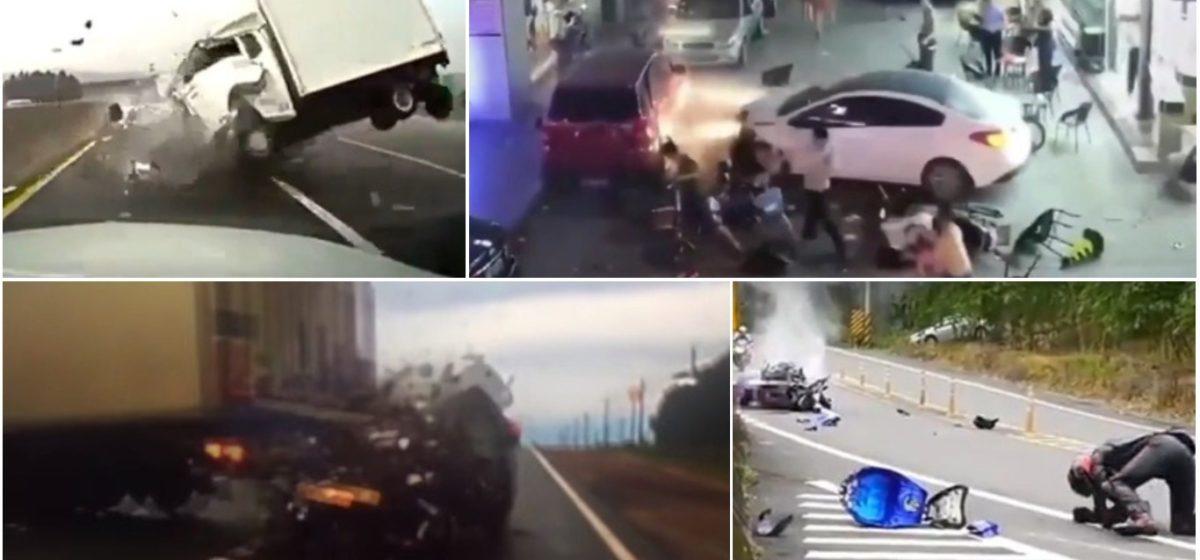 ТОП-5 ужасных аварий за неделю: смертельный разворот, легковушка и летнее кафе, байкер против байкера (видео 18+)