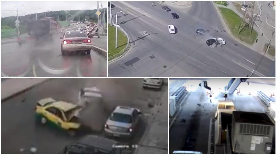 ТОП-5 ужасных аварий за неделю: неуправляемый грузовик со щебнем, лихач на «БМВ», легковушка и ворота (видео 18+)