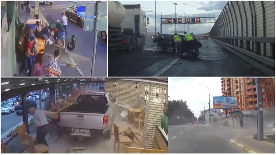 ТОП-5 ужасных аварий за неделю: легковушка снесла остановку, пикап въехал в кафе, неадекватный таксист (видео 18+)