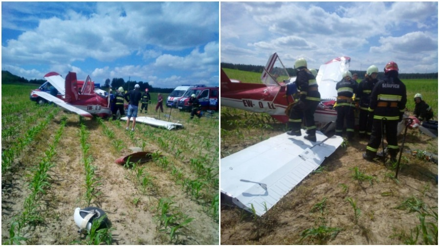 Возле Гродно упал одномоторный самолет — пострадали два человека