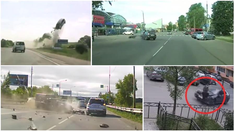 ТОП-5 ужасных аварий за неделю: пьяный водитель – погибший пешеход, девушка каскадер, байкер против легковушки (видео 18+)