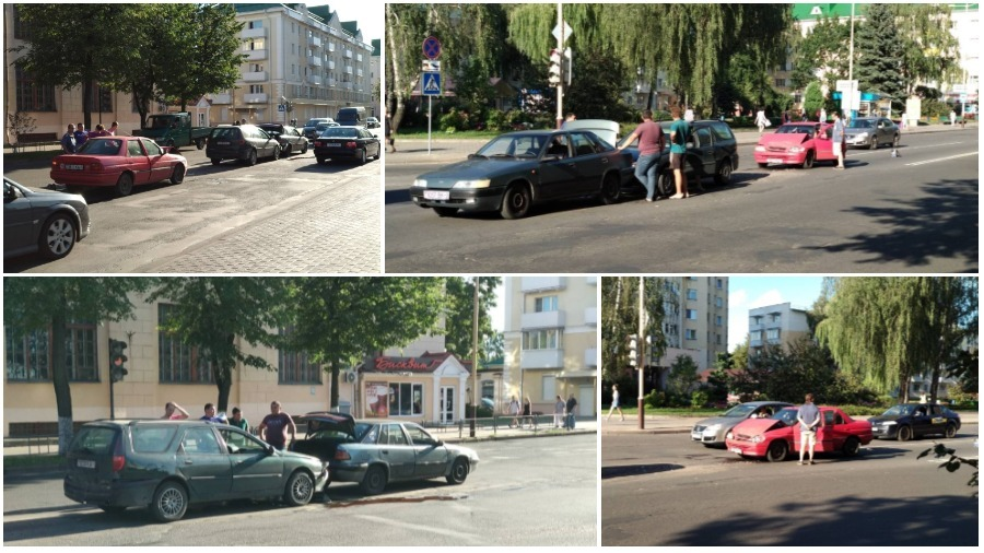 В Барановичах на улице Ленина столкнулись сразу три автомобиля (видео/фото)