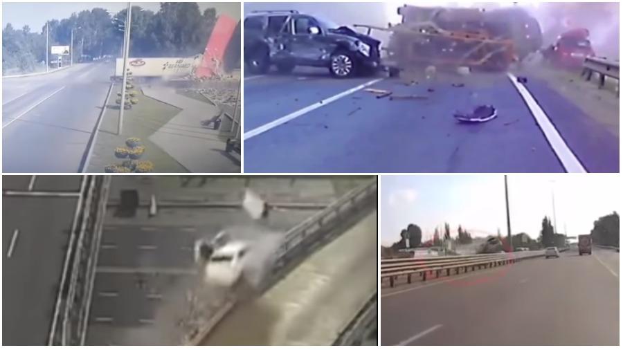 ТОП-5 ужасных аварий за неделю: фура влетела в стелу, неадекватный водитель на встречке (видео 18+)