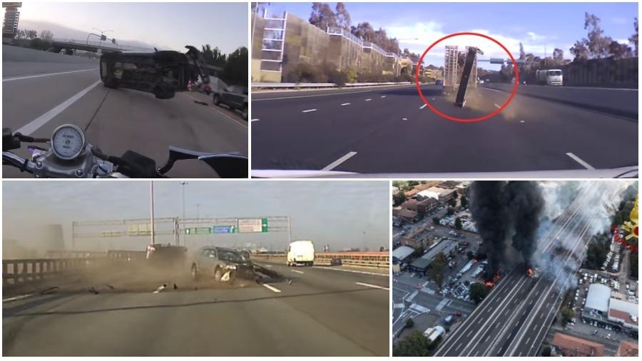 ТОП-5 ужасных аварий за неделю: байкер чудом остался жив, кусок металла прошил лобовое стекло, взрыв бензовоза (видео 18+)