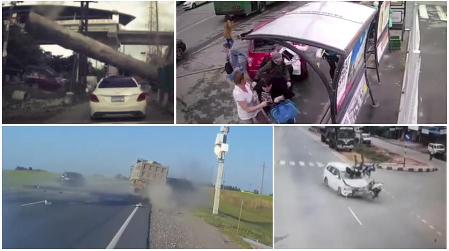 ТОП-5 ужасных аварий за неделю: легковушка влетела в остановку, бетонный столб упал на машину, лоб в лоб на встречке (видео 18+)