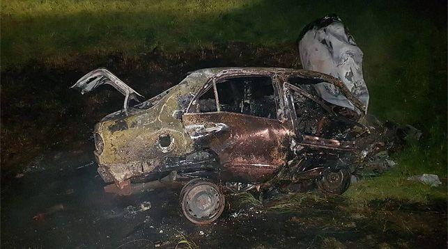 На трассе Р28 опрокинулась и загорелась легковушка (фото)