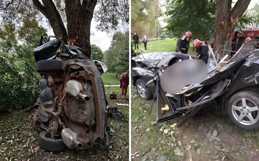 В Минске легковушка влетела в дерево, погибли два человека (фото)