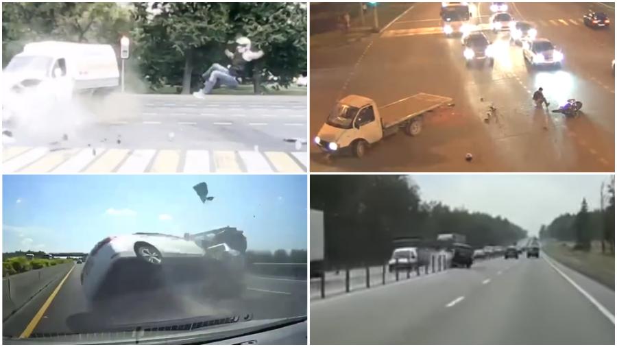 ТОП-5 ужасных аварий за неделю: вылетел на встречку, обгон ценою в жизнь, ниндзя-байкер против «Газели» (видео 18+)