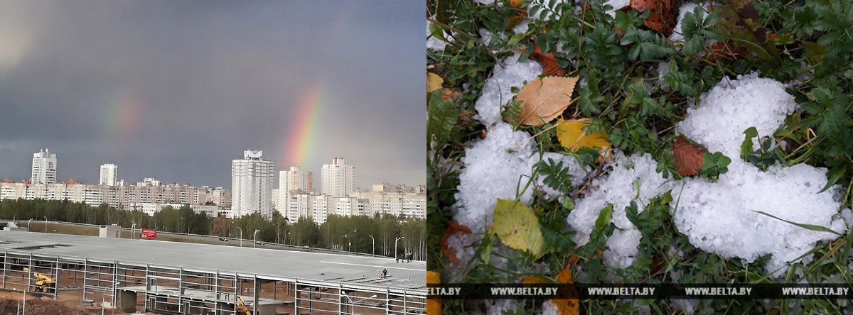Фотофакт. Чудеса природы в Беларуси: над Минском радуга, а в Витебске снежный град