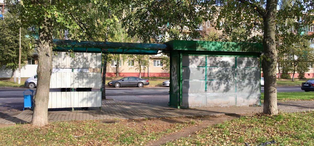 Фотофакт. В Барановичах с автобусной остановки исчез неприличный рисунок, появившийся там около месяца назад