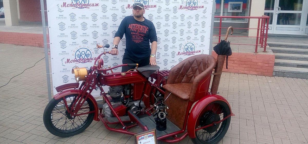 Житель Барановичей представил на байк-фестивале свой мотоцикл. Он уникален