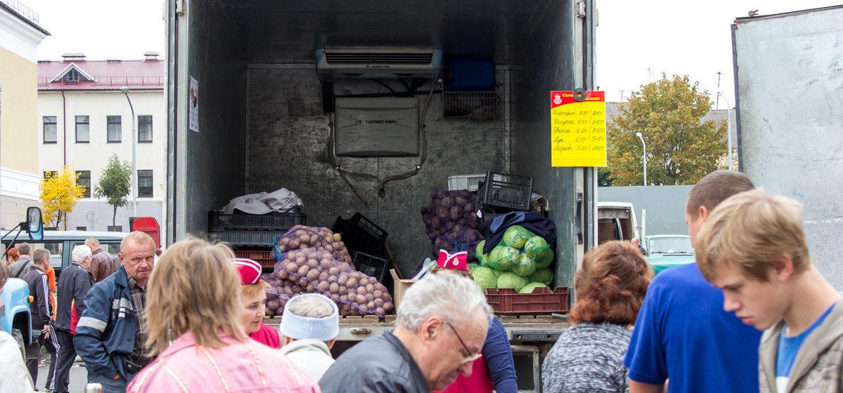 В Барановичах у Ледового дворца проходит сельскохозяйственная ярмарка