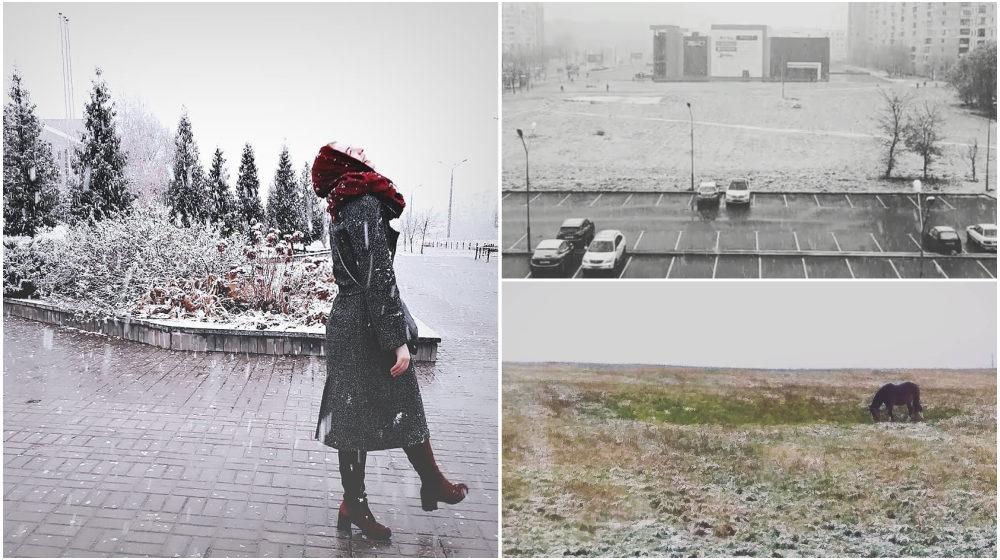 Фотофакт. В Витебске выпал первый в Беларуси снег
