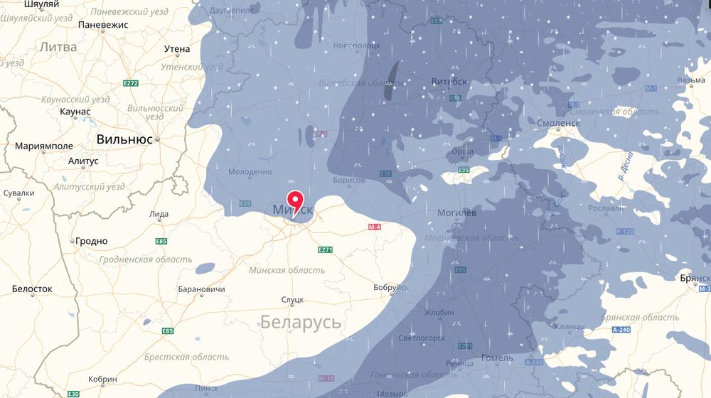 Яндекс.Погода начала показывать в Беларуси карту осадков