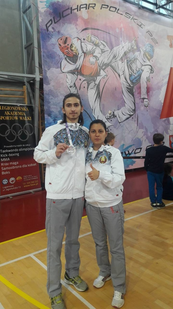 Тренер Наида Оразаева с Сергеем Мазуром, занявшим на турнире Legionowo Cup 2018 второе место. Фото: архивБФСО «Динамо»